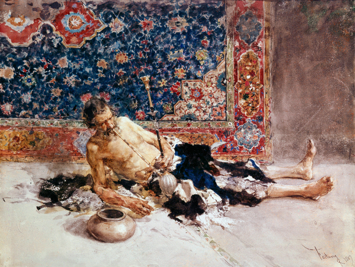 "********: Opium smoker', 1869. Fortuny, Mari"" (1838-1874). Found in the collection of the State Hermitage, St. Petersburg. ******** ******** *** Permission for usage must be provided in writing from Scala."
